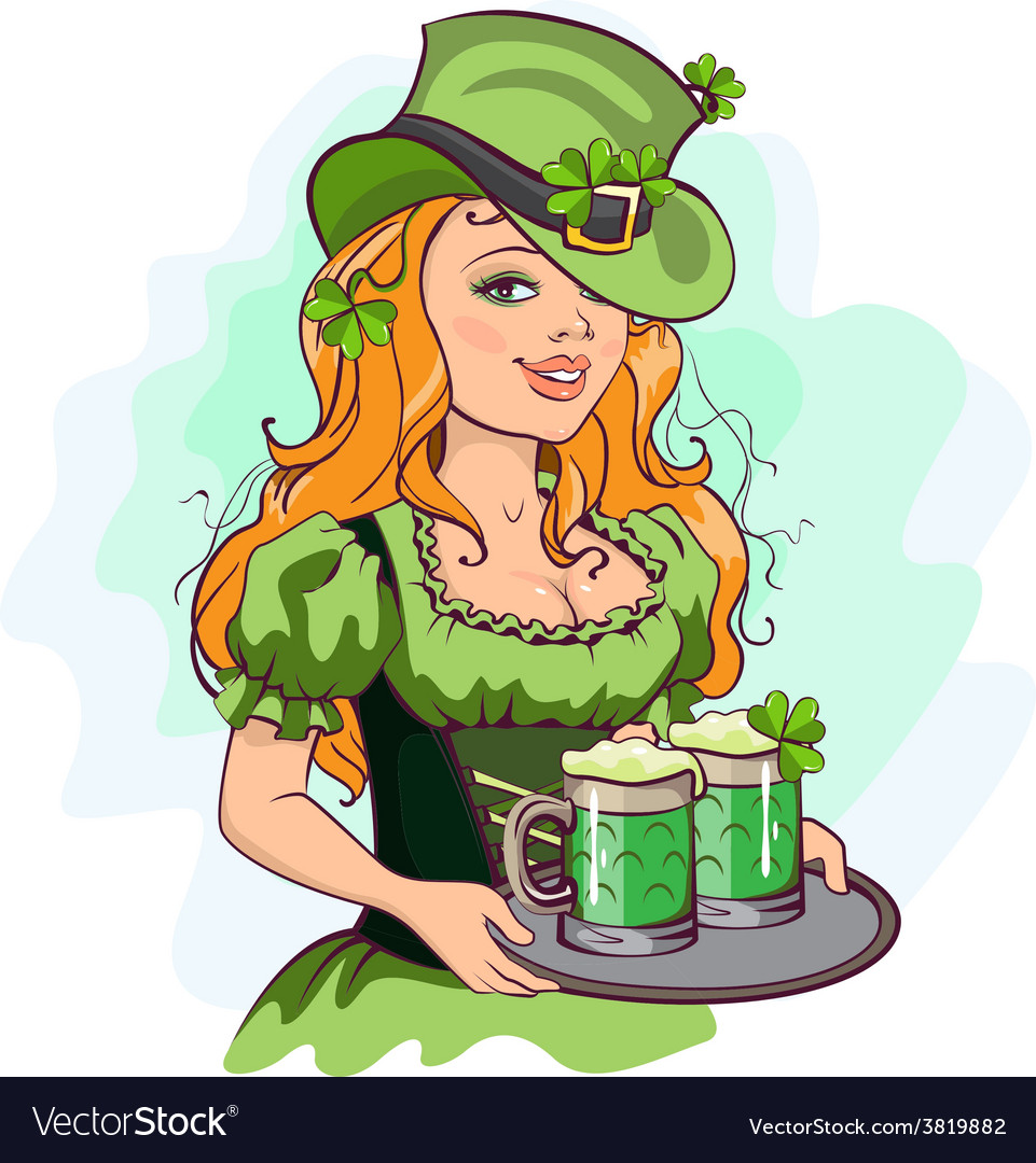 Patrick girl holding a tray of green beer vector