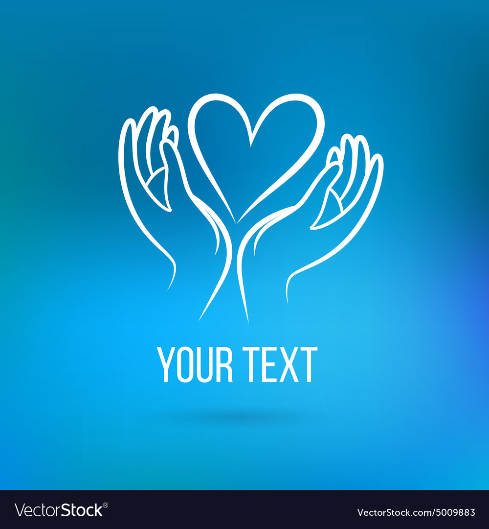 Logo with hands and heart vector