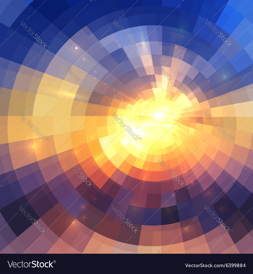 Colorful concentric shining mosaic abstract vector