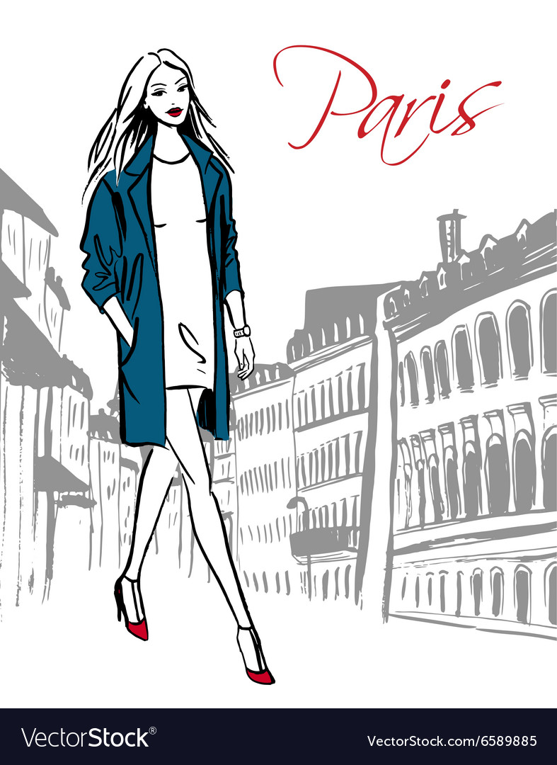 Woman walking in paris vector