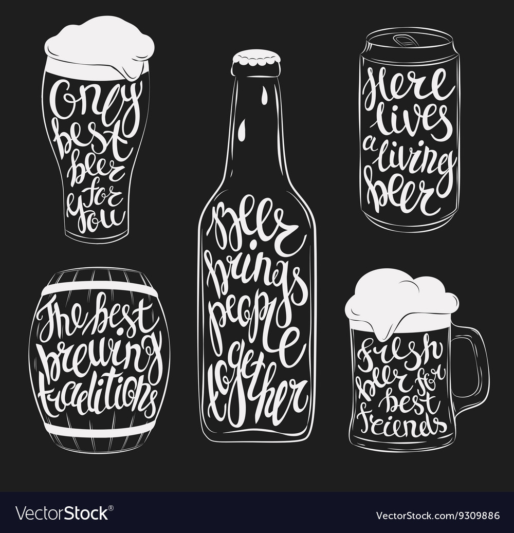 Beer pint glassware bottle barrel and can vector