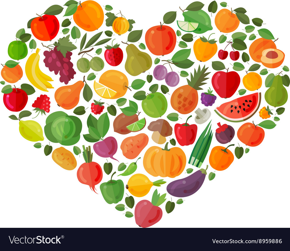 Heart made of fruits and vegetables vector