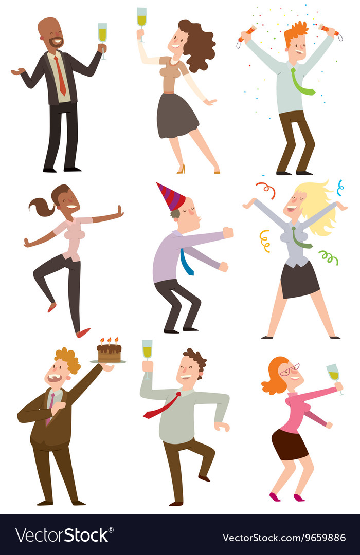 Office party people set vector