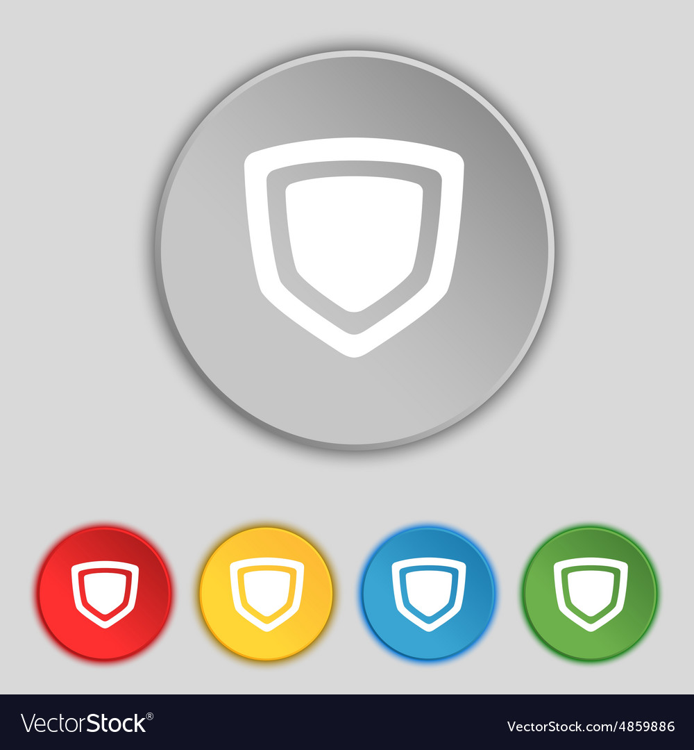 Shield icon sign symbol on five flat buttons vector