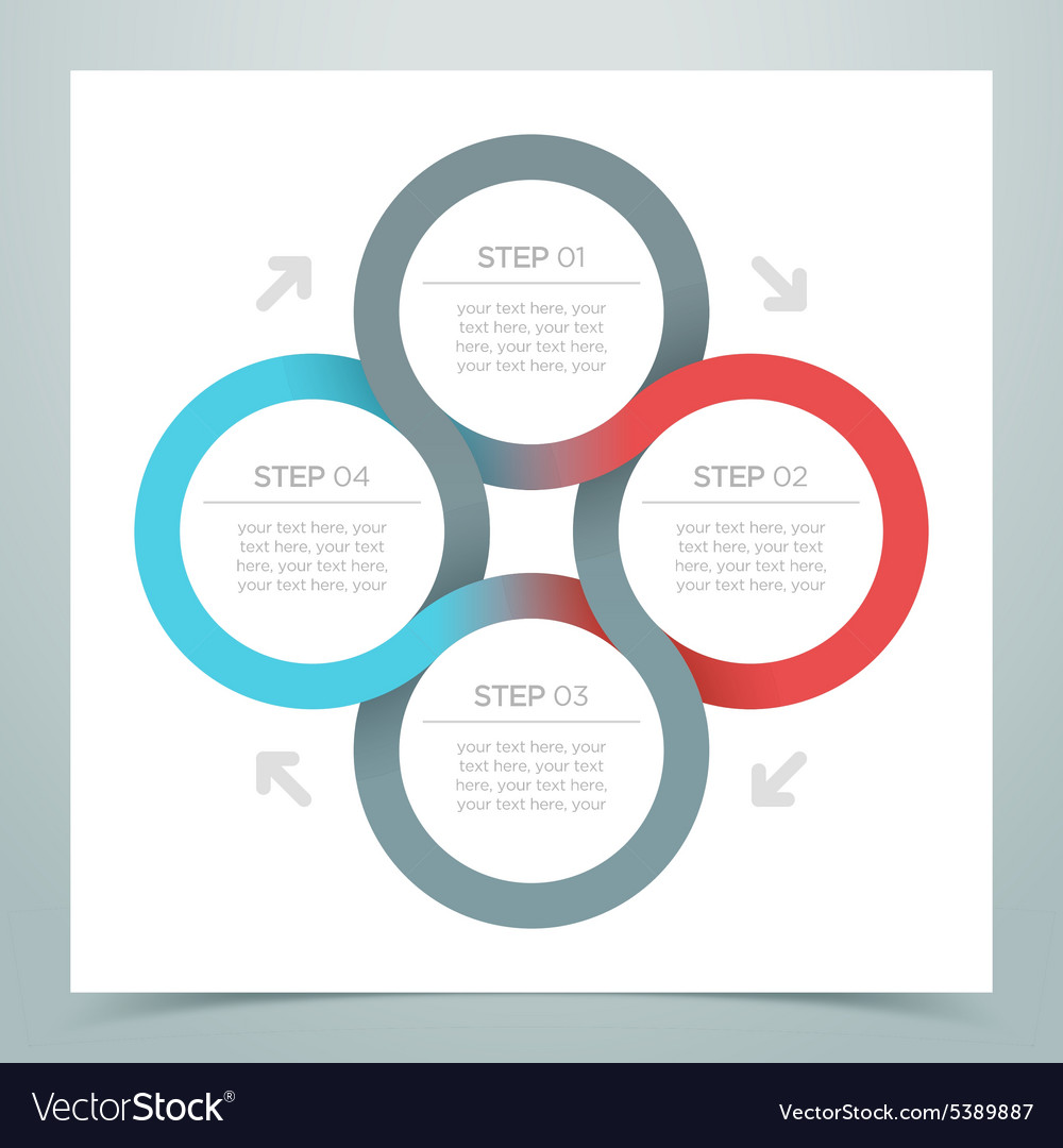 Abstract 4 circle ribbon infographic 1 vector