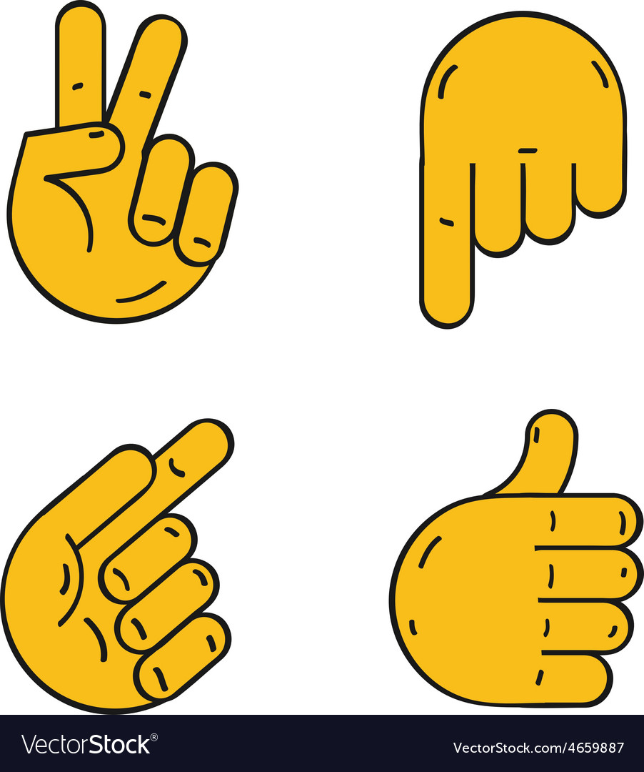 Different hands cartoon style vector