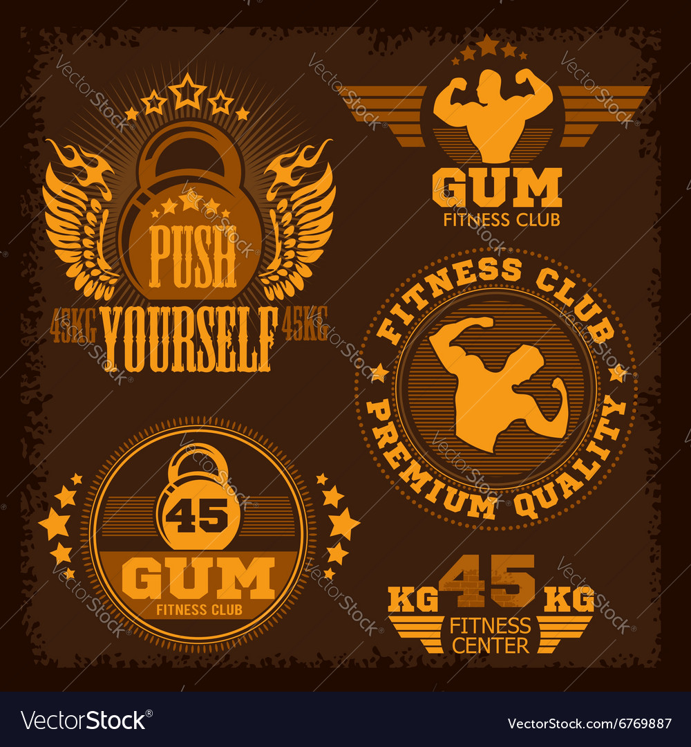 Fitness bodybuilding vintage label for flayer vector