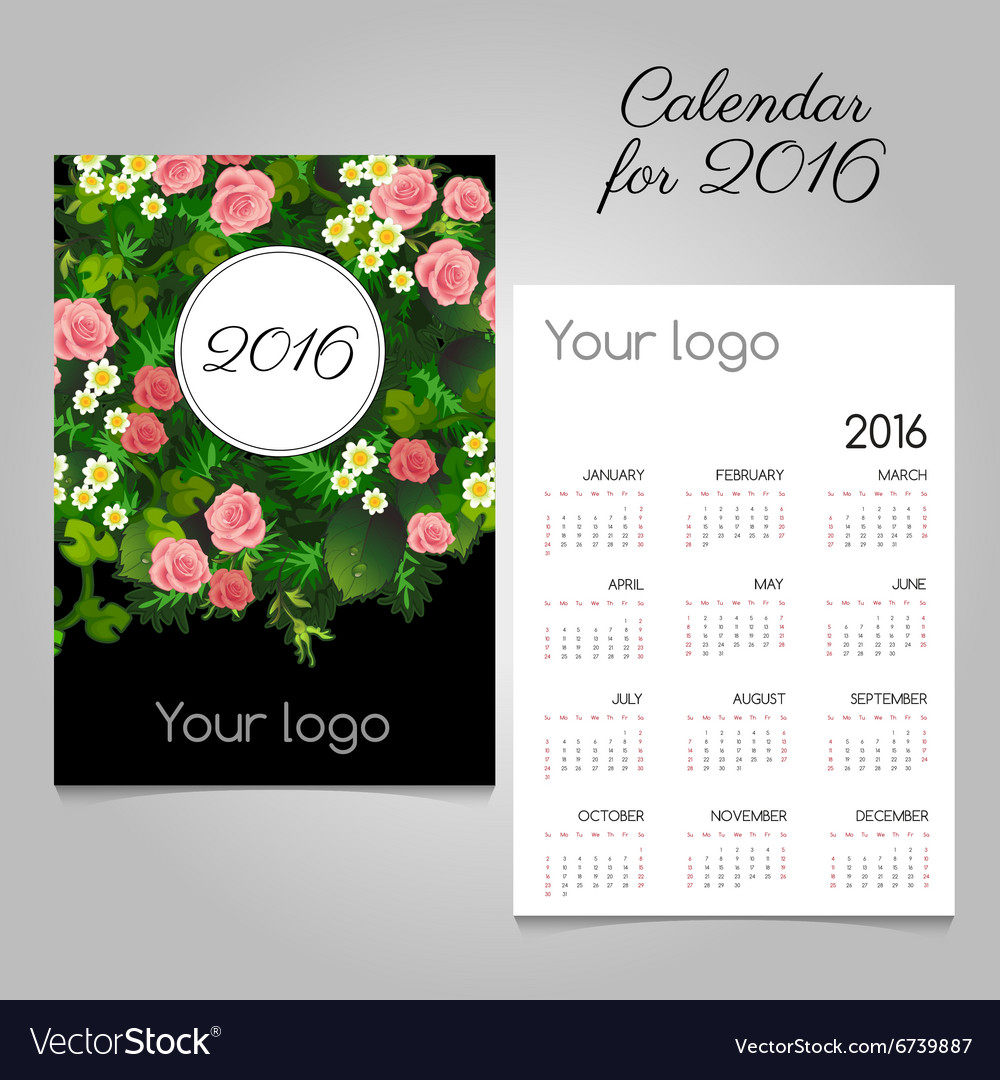 Floral calendar 2016 with roses space for logo vector