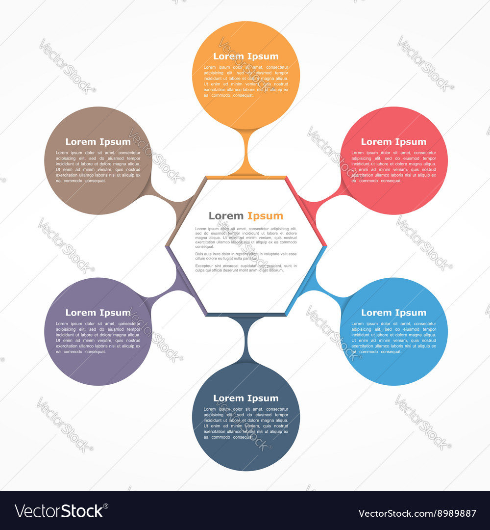 Flow chart six elements vector