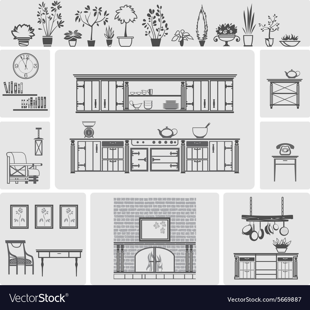 Icons of different kitchen elements vector
