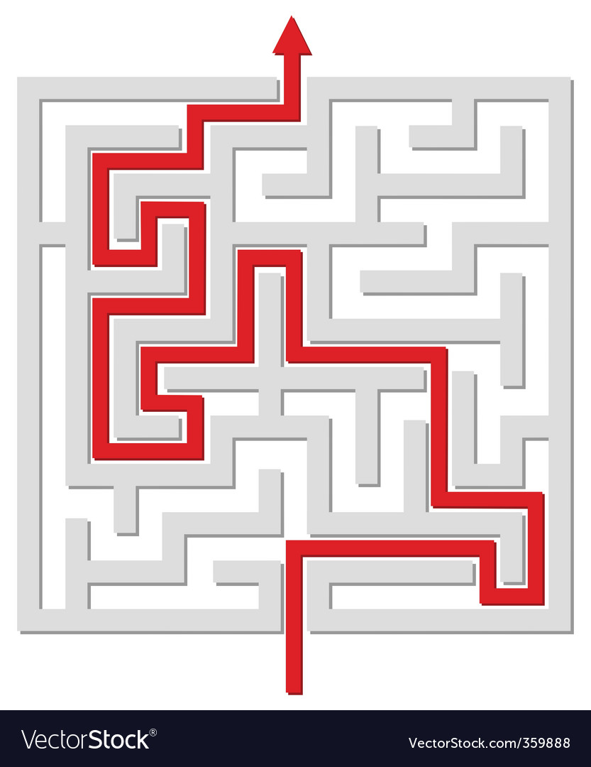 Solved labyrinth vector
