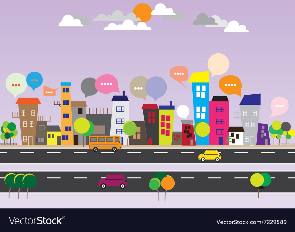 140715 city speech bubbles vector