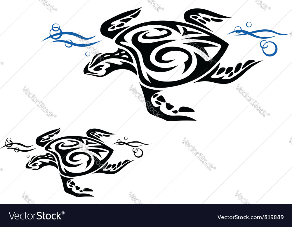 Tribal turtle patterns vector