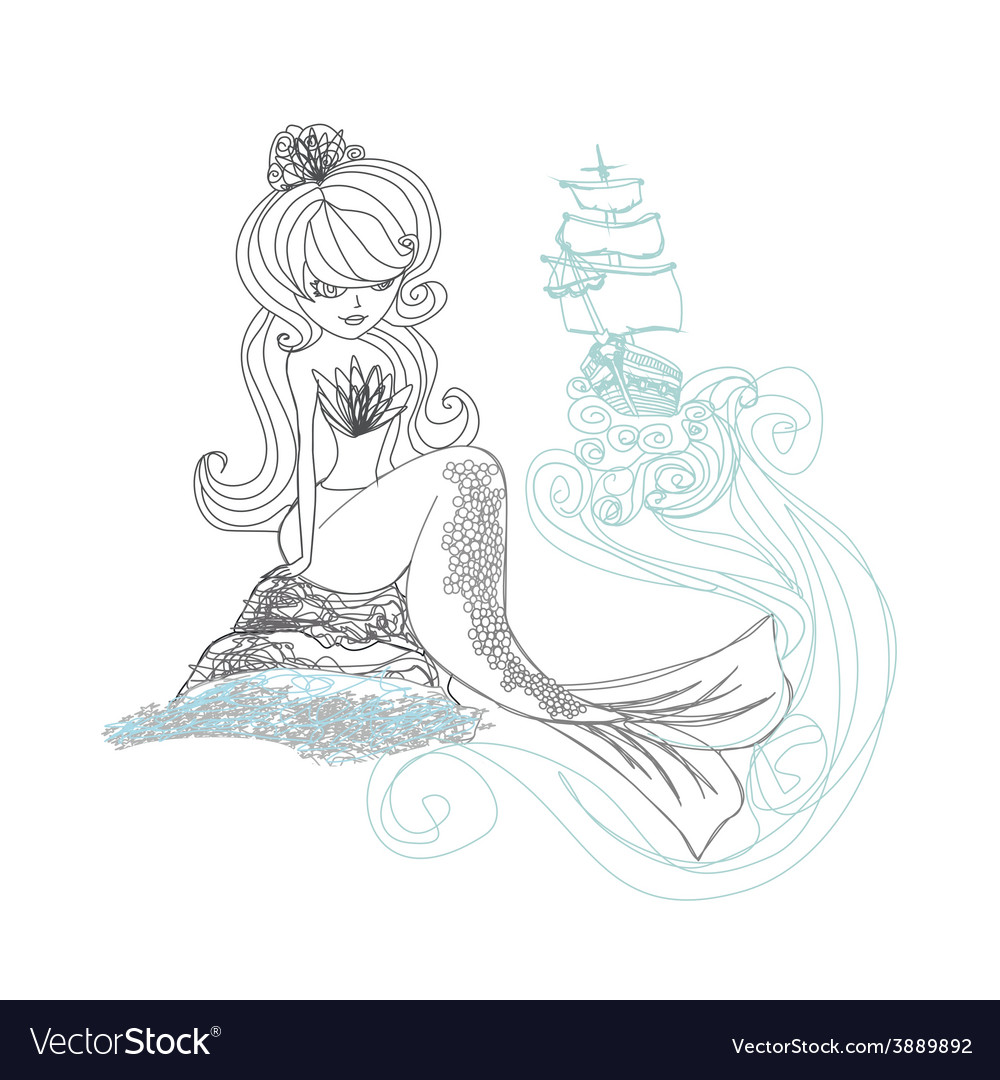 Beautiful mermaid  doodle vector