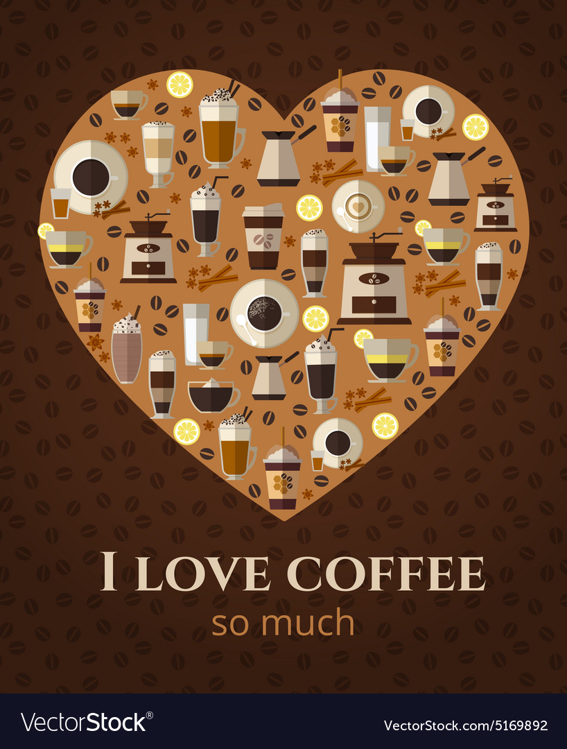 I love coffee sign in shape of heart vector