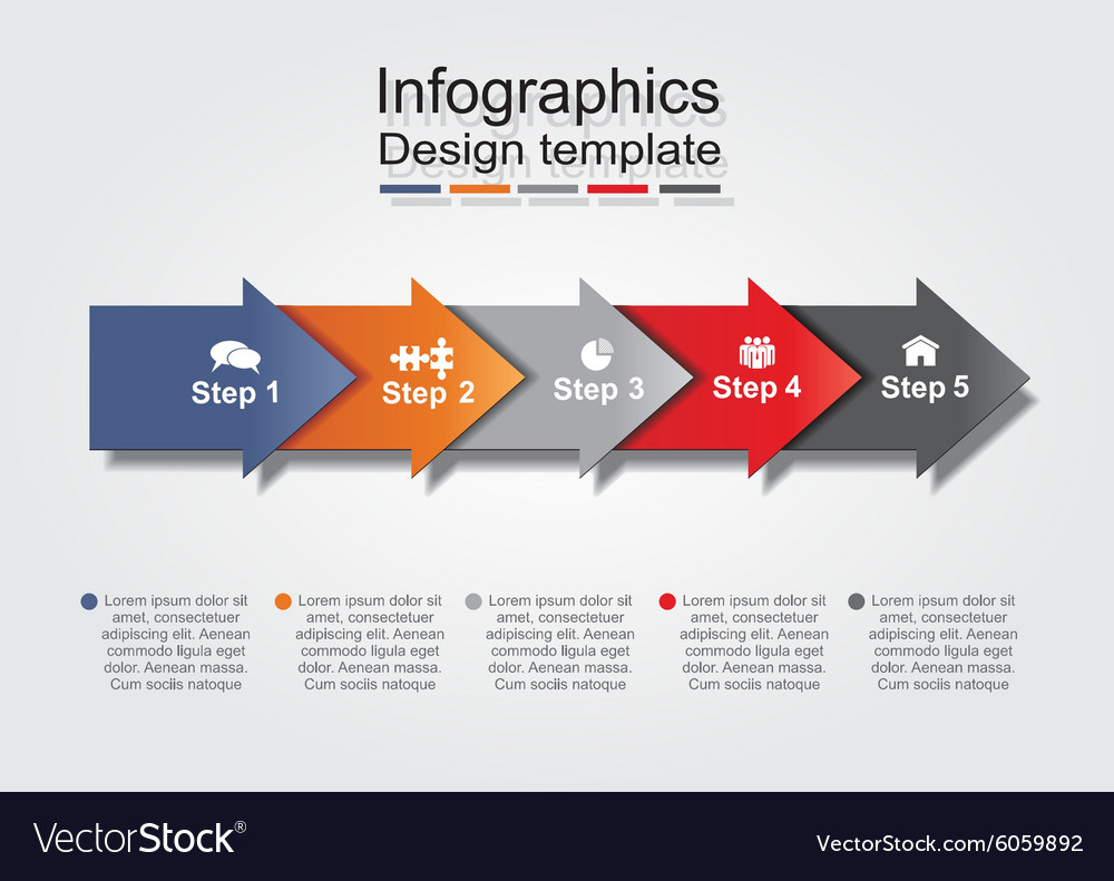 Infographic report template with arrows and icons vector