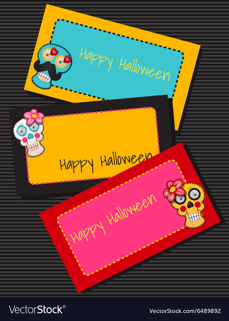 Three horizontal cards with fabric skulls vector