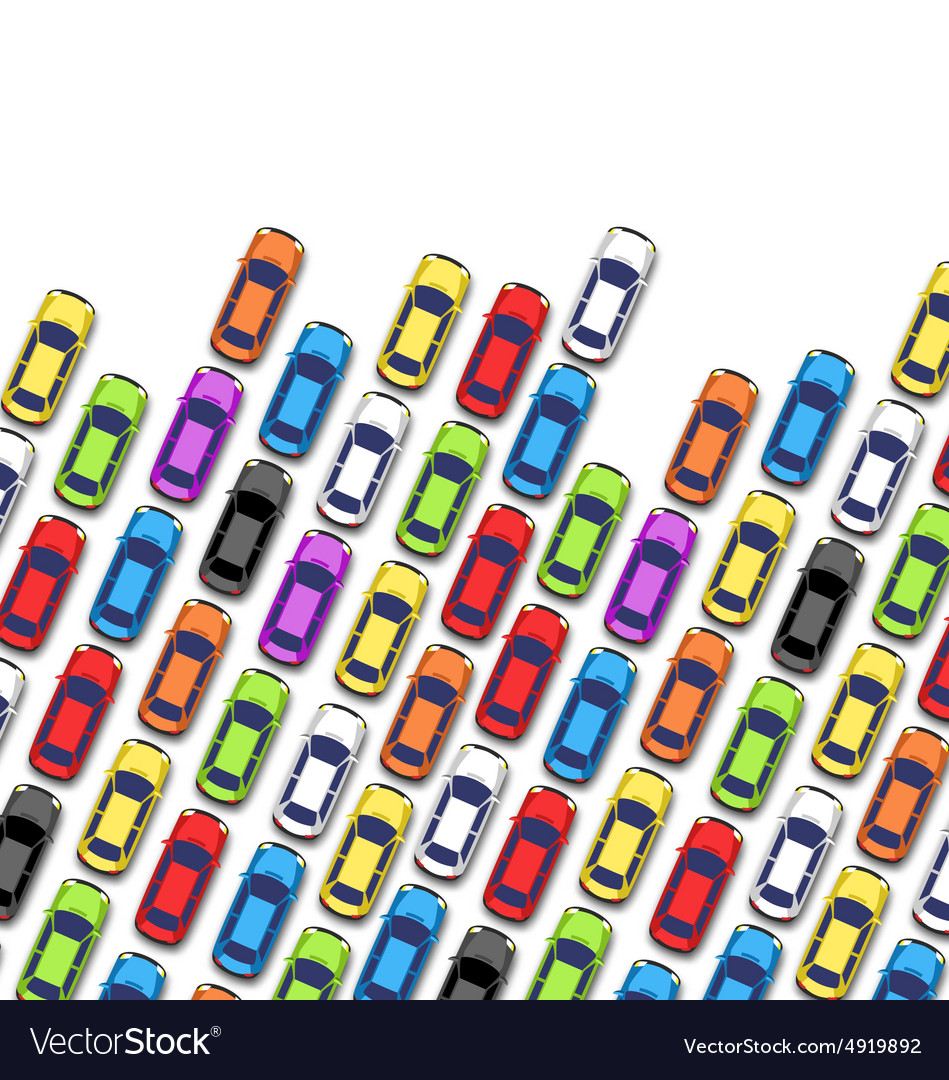 Traffic jam on the road with cars isolated on vector