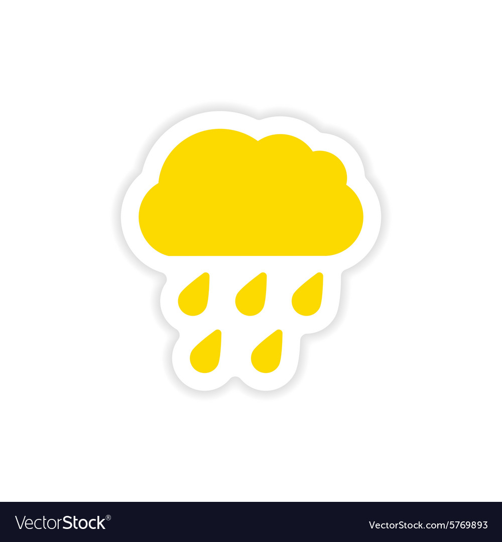 Icon sticker realistic design on paper rain cloud vector