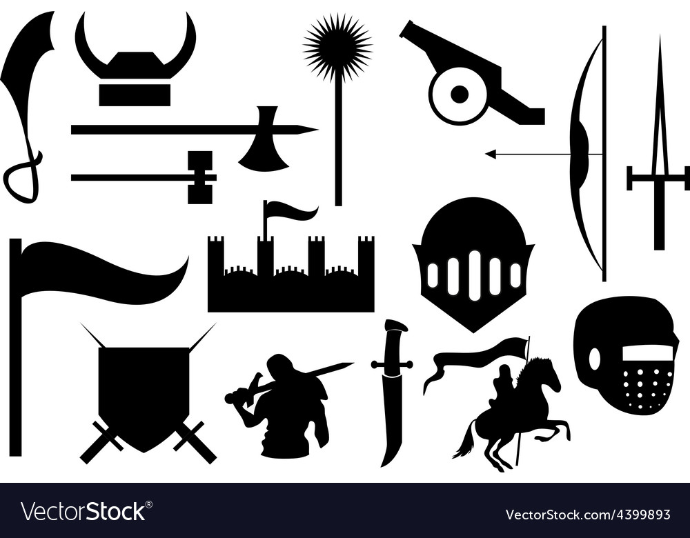 Knight war icons set vector