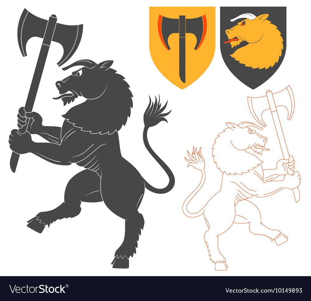Minotaur with a axe vector