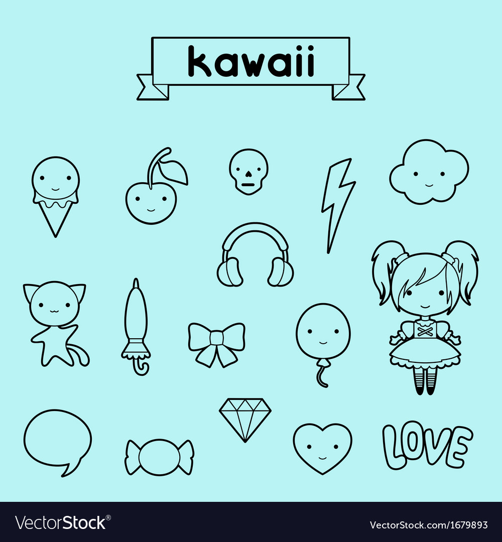 Set of decorative design elements kawaii doodles vector