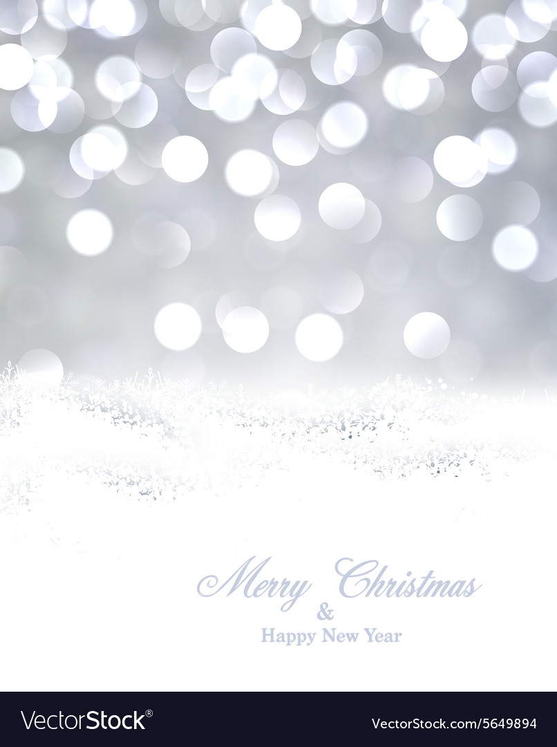 Silver christmas background with snow vector