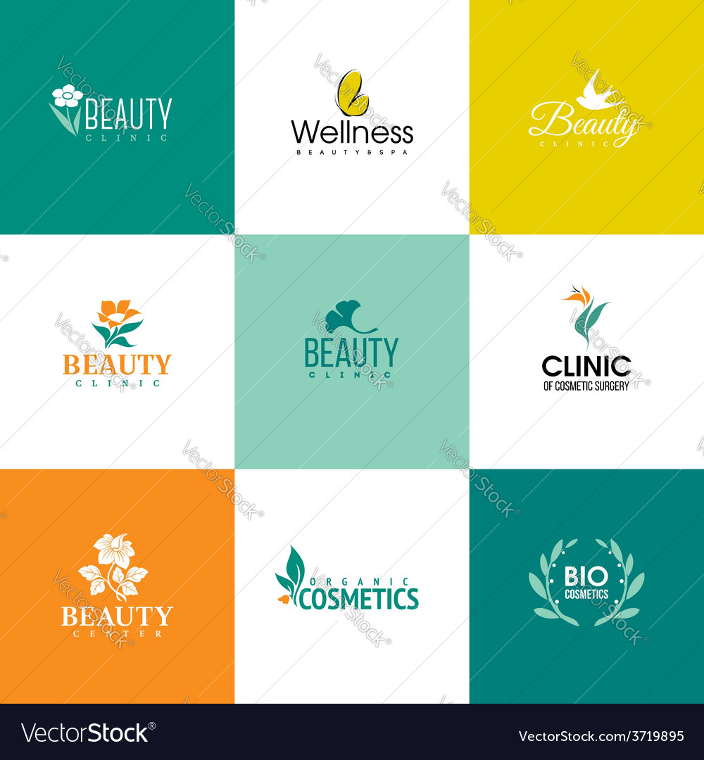 Set of beauty and flowers logo templates vector