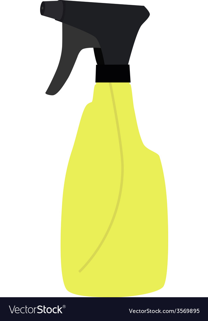 Yellow spray bottle vector
