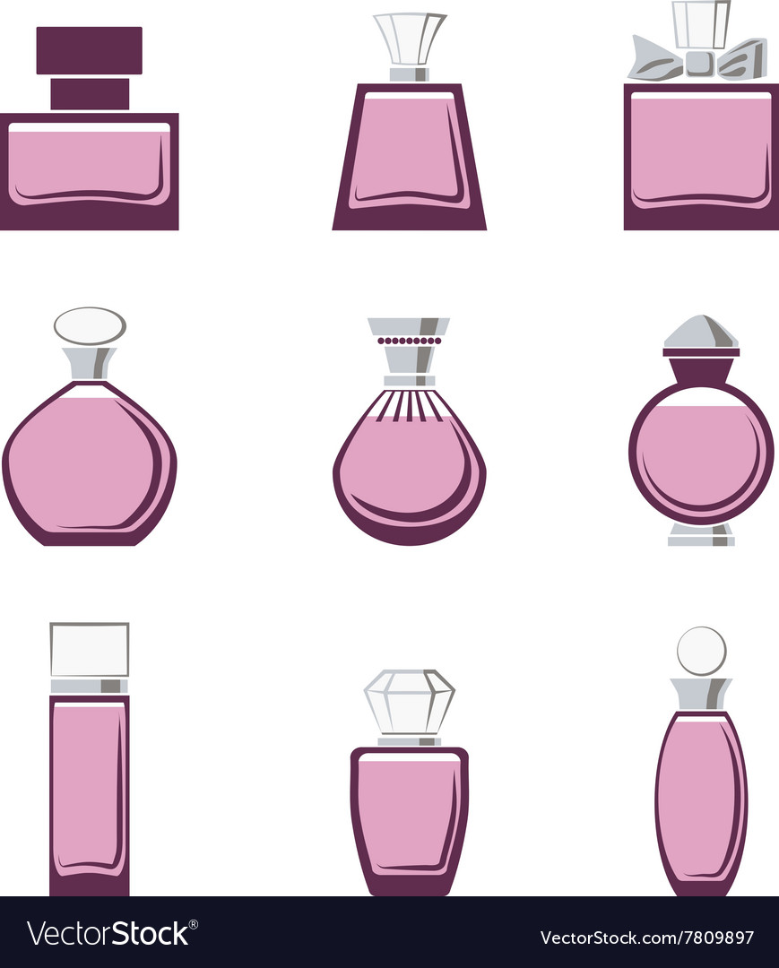 Set of different perfume bottles in vector