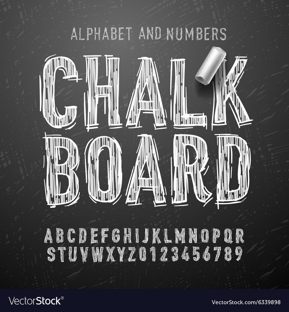 Chalk alphabet letters and numbers vector