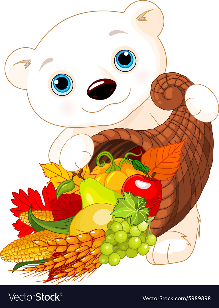 Polar bear holds cornucopia vector