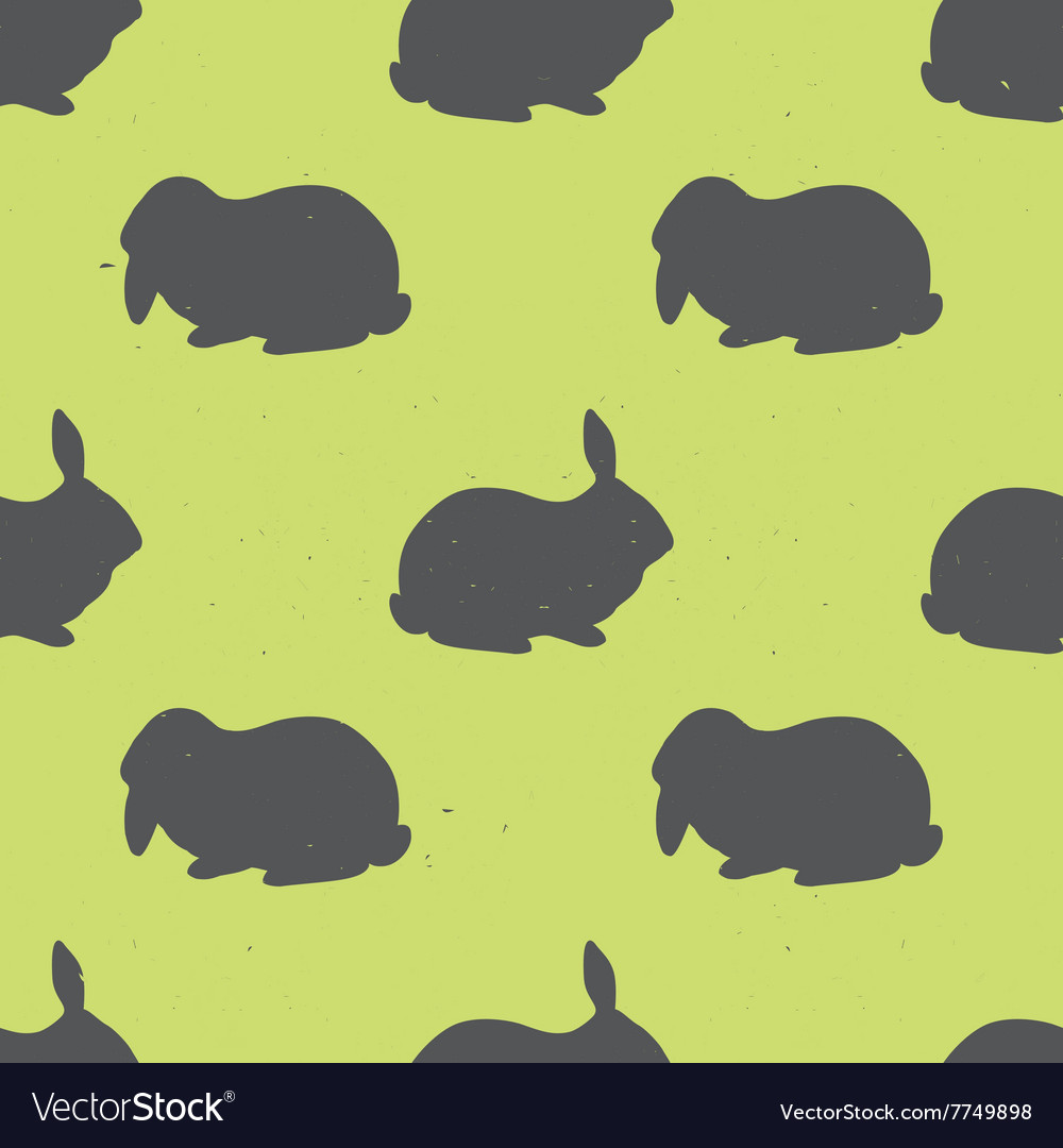 Seamless pattern with rabbit silhouettes vector