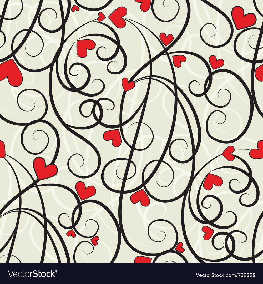Wave floral heart vector