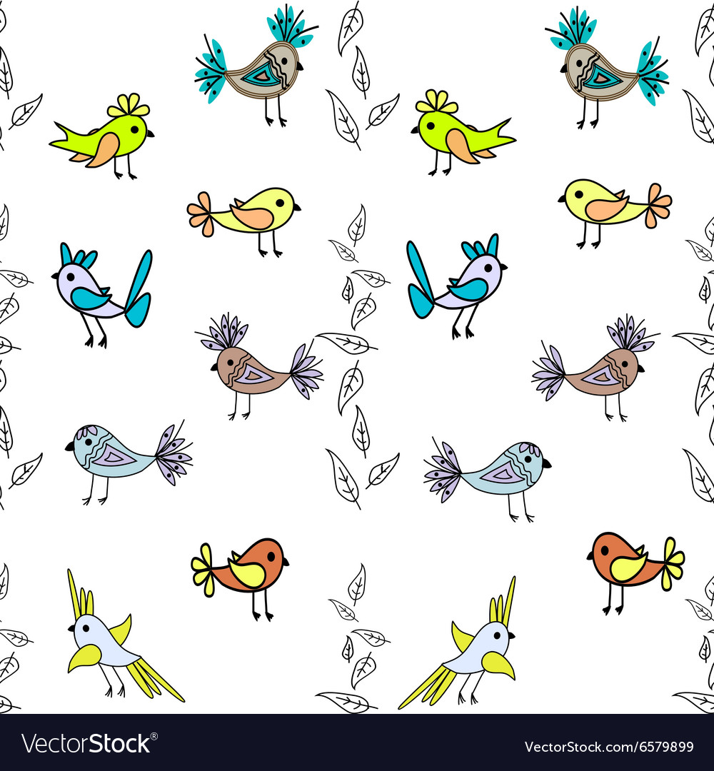 Little cute birds seamless pattern abstract vector