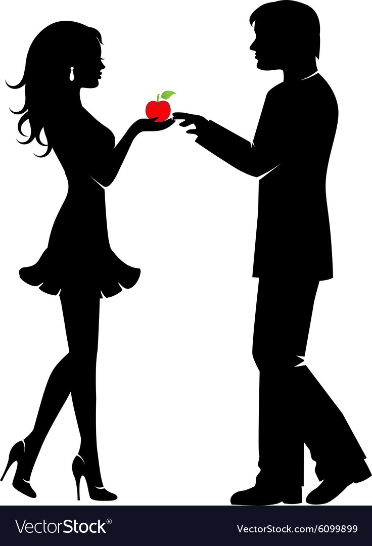 Man woman and the forbidden fruit vector
