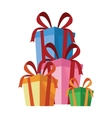 collection ed gift boxes with red ribbon vector image
