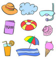 doodle summer theme with object vector image