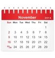 Stylish calendar page for November 2014 vector image