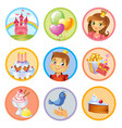 cute birthday stickers vector image vector image