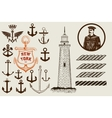 Set of marine and nautical elements vector image vector image