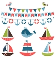 Textured sea transport set vector image
