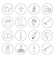 Thin Line Icons Gardening Equipment vector image