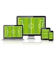 Modern digital devices with soccer field on screen vector image