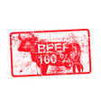 beef 100 per cent - red rubber dirty grungy stamp vector image