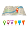 City map with pins vector image