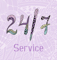 Hand drawn doodle service around the clock vector image