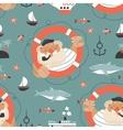 Seamless pattern with old sailorlifebuoyfish vector image