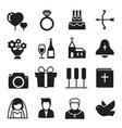 silhouette icons wedding bride and groom love vector image