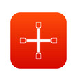 wheel wrench cross icon digital red vector image